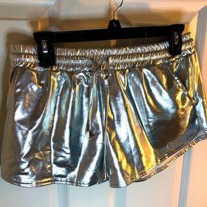 XL metallic silver shorts
